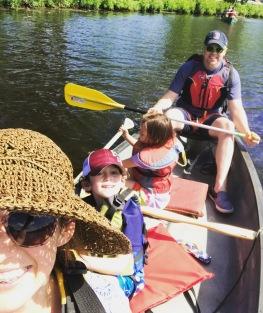 Canoeing the Charles opposite Harvard